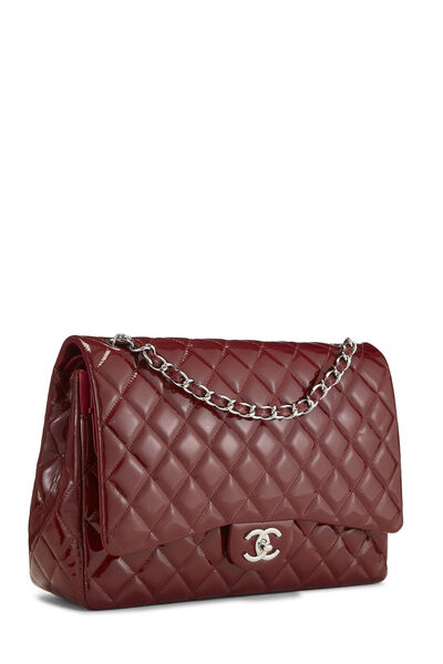 Red Quilted Patent Leather New Classic Double Flap Maxi, , large