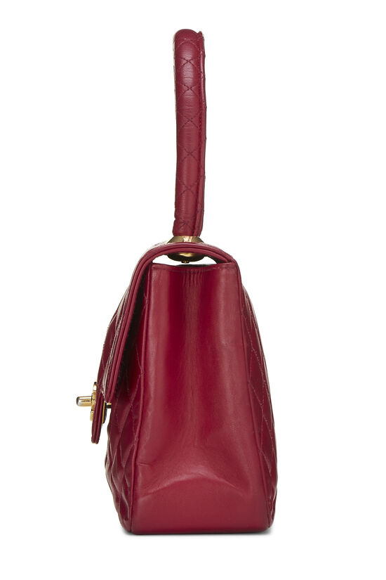 Burgundy Quilted Lambskin Top Handle Small, , large image number 2