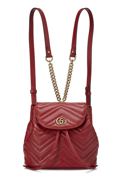 Red Leather 'GG' Marmont Backpack Small