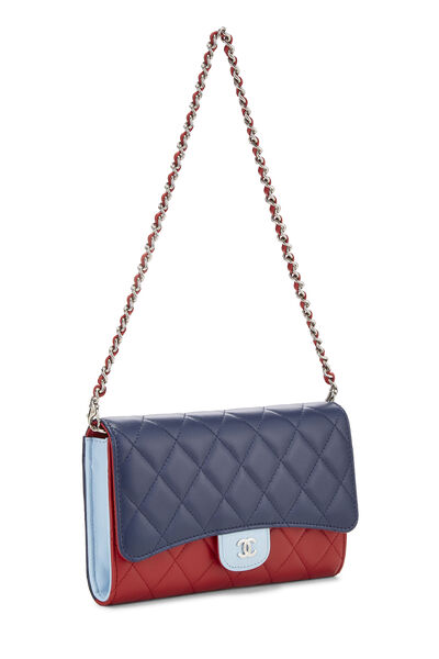 Red & Blue Quilted Lambskin Convertible Clutch, , large