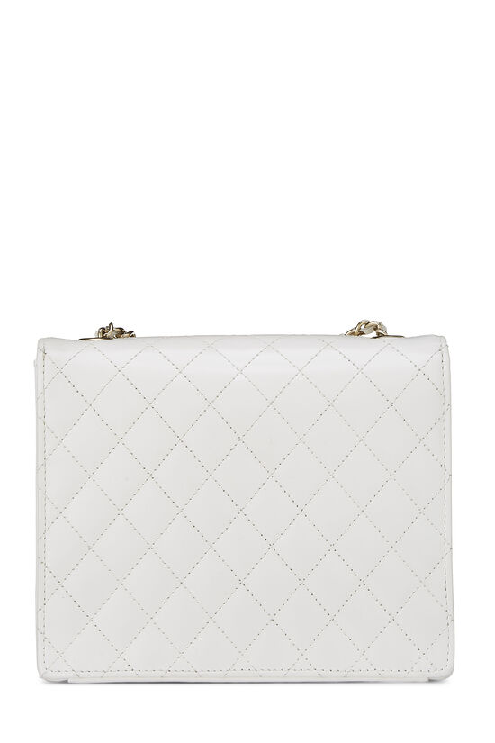 White Quilted Leather Shoulder Bag Small, , large image number 4