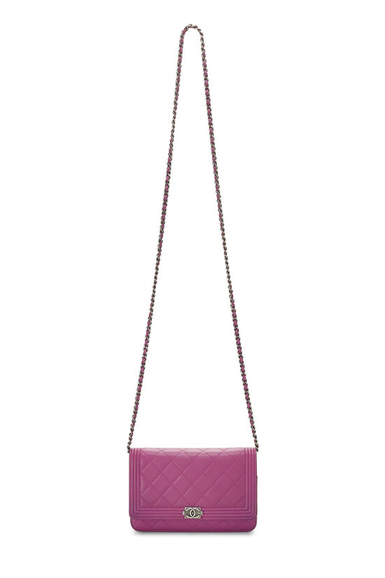 Purple Quilted Lambskin Boy Wallet on Chain (WOC), , large image number 6