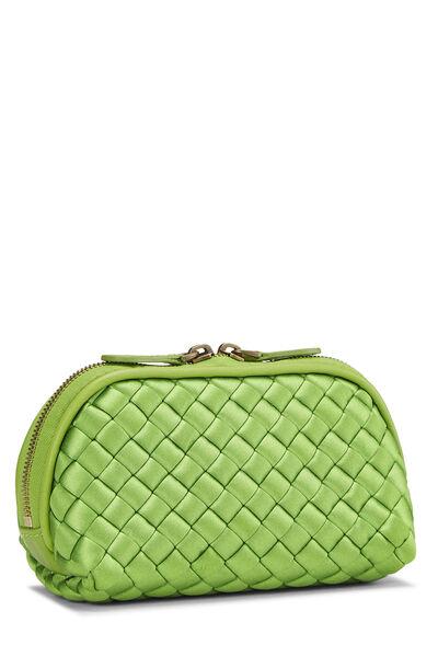 Green Intrecciato Satin Cosmetic Pouch, , large