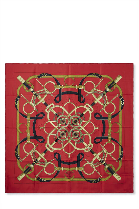 Red & Multicolor 'Eperon d'Or' Silk Scarf 90, , large image number 0