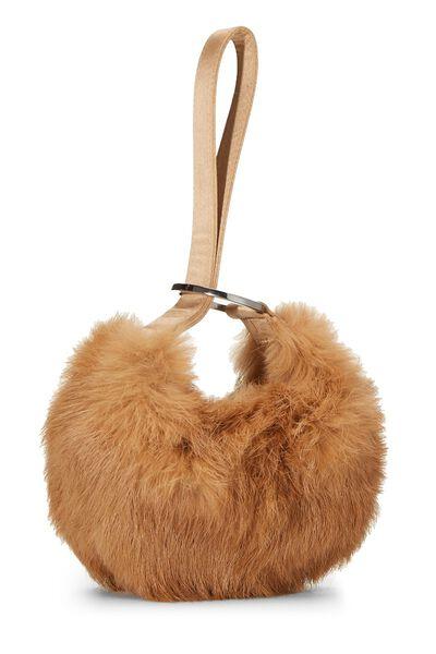 Brown Fur Wristlet, , large