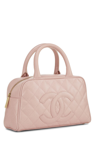 Pink Quilted Caviar Bowler Mini, , large
