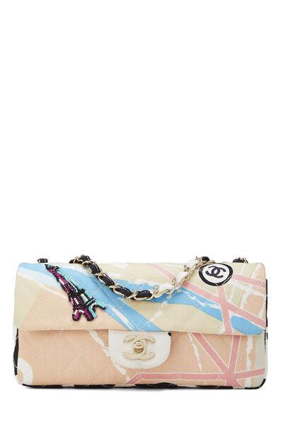 Multicolor Canvas Eiffel Tower Flap Bag Small