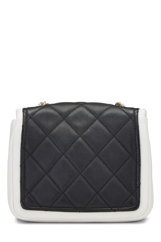 Black & White Quilted Lambskin Classic Square Flap Mini, , large image number 3