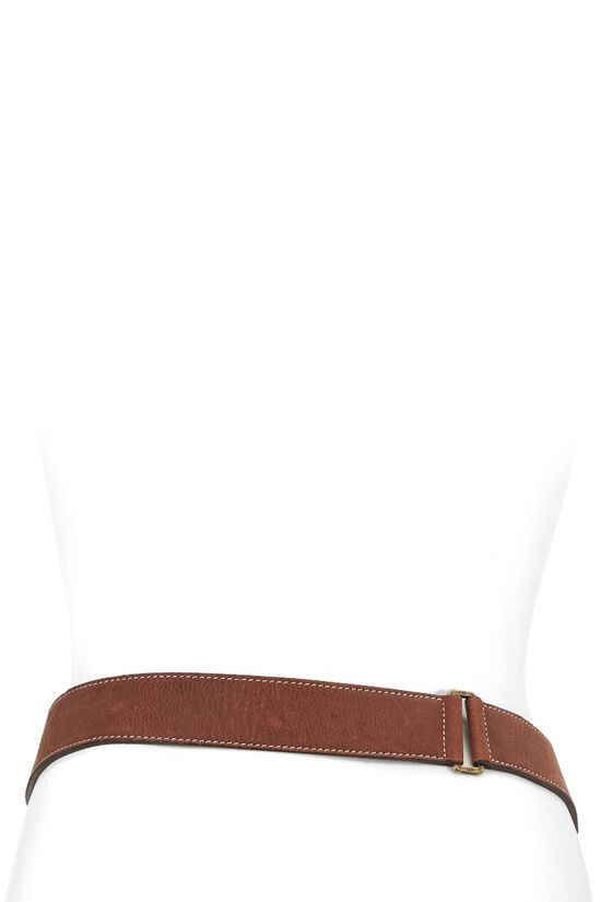 Brown Leather & Olive Canvas Saddle Belt Bag 90, , large image number 3