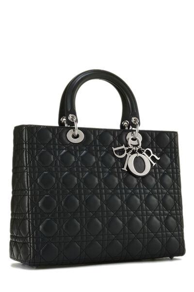Black Cannage Lambskin Lady Dior Large, , large