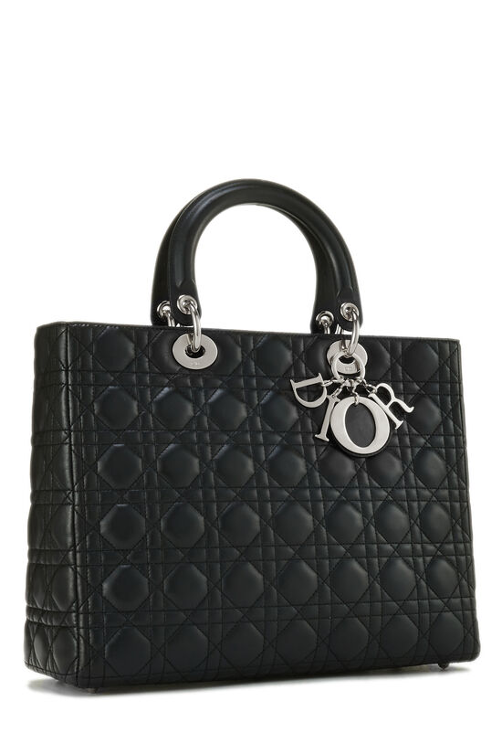 Black Cannage Lambskin Lady Dior Large, , large image number 1