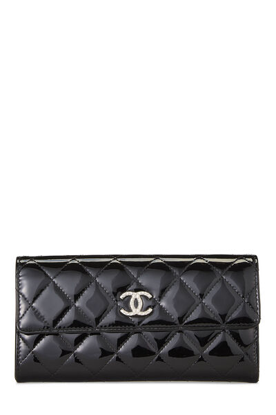 Black Quilted Patent Leather Flap Wallet