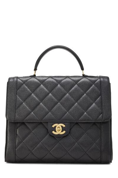 Black Quilted Caviar Handbag