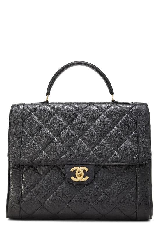Black Quilted Caviar Handbag, , large image number 0