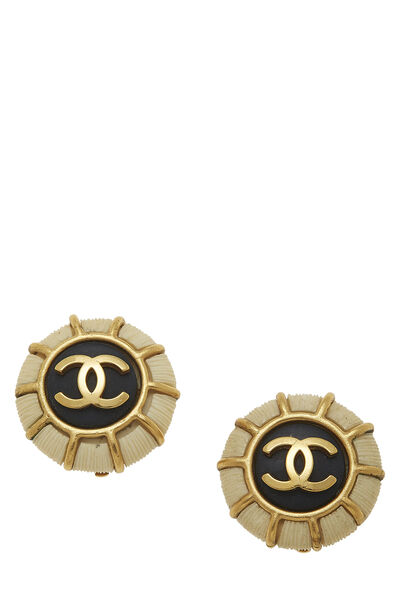 Gold & Black 'CC' Round Earrings