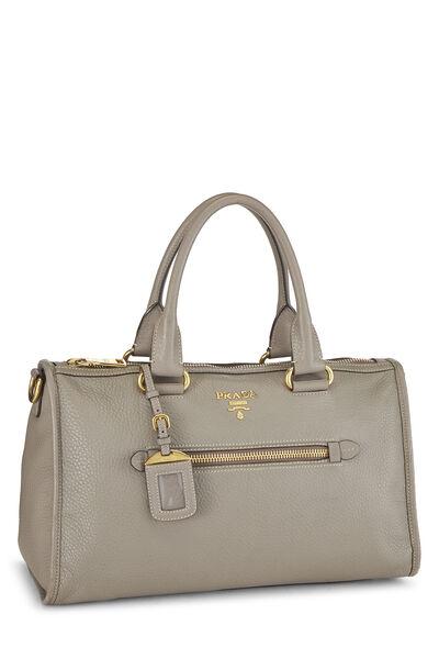 Grey Vitello Daino Boston Bag, , large