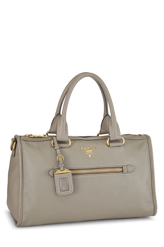 Grey Vitello Daino Boston Bag, , large image number 1
