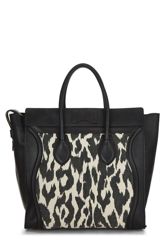 Black Calfskin & Animal Print Canvas Luggage Medium, , large image number 3