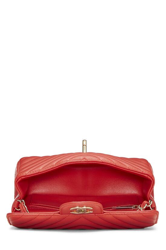 Red Chevron Lambskin Rectangular Flap Mini, , large image number 5