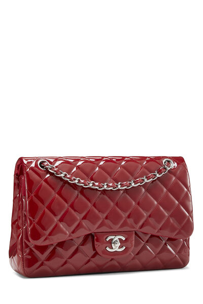 Red Quilted Patent Leather New Classic Double Flap Jumbo, , large