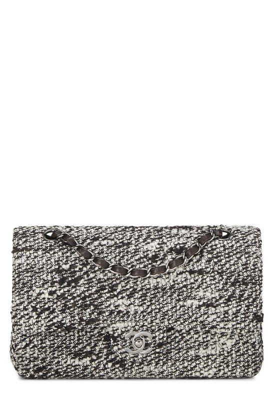 Brown & White Quilted Tweed Classic Double Flap Medium, , large image number 0