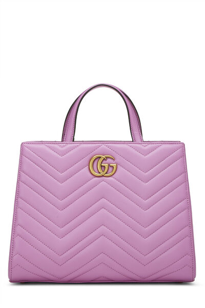 Pink Leather GG Marmont Top Handle Bag Small