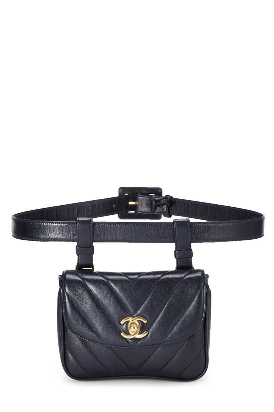 Black Lambskin Chevron Belt Bag, , large image number 0