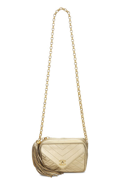 Gold Chevron Quilted Lambskin Pocket Camera Bag Mini, , large