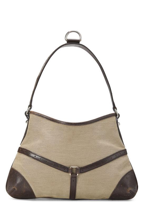 Beige Canvas Web Reins Shoulder Bag, , large image number 3
