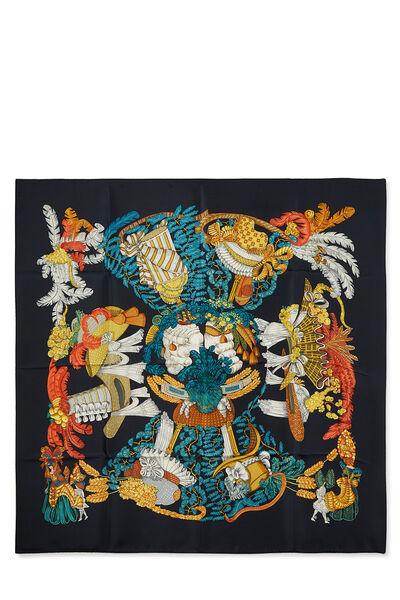 Black & Multicolor 'Chapeau' Silk Scarf 90