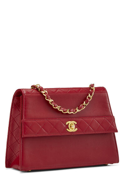 Red Quilted Lambskin Trapezoid Shoulder Bag, , large