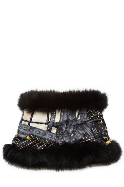 Black Fox Fur Infinity Scarf, , large