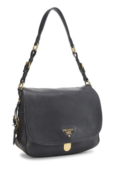 Black Vitello Daino Shoulder Bag, , large