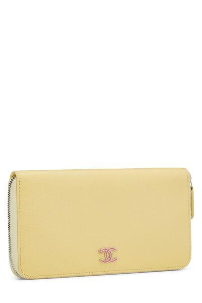 Yellow Calfskin Zip Around Wallet, , large