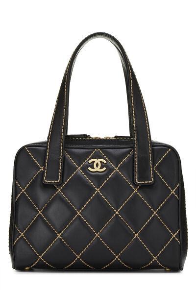 Black Leather Wild Stitch Boston Handbag