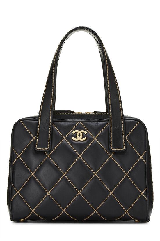 Black Leather Wild Stitch Boston Handbag, , large image number 0