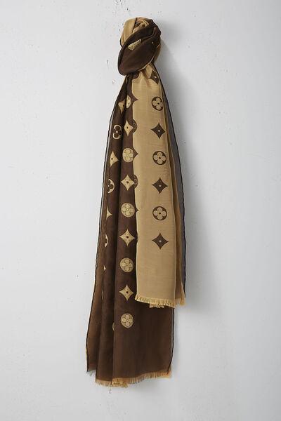 Brown & Gold Monogram Silk Scarf