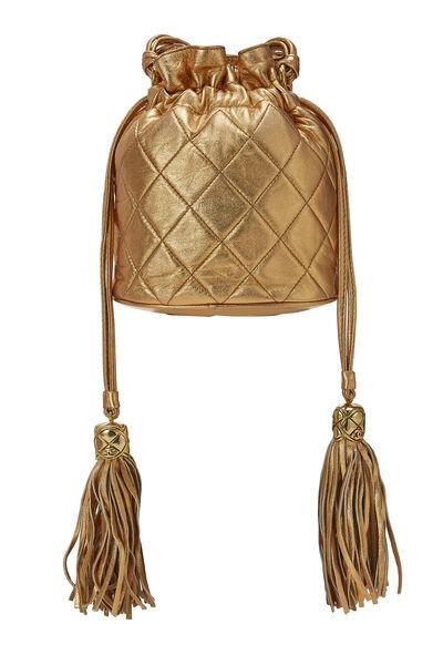 Metallic Copper Quilted Lambskin Bucket Bag Mini, , large