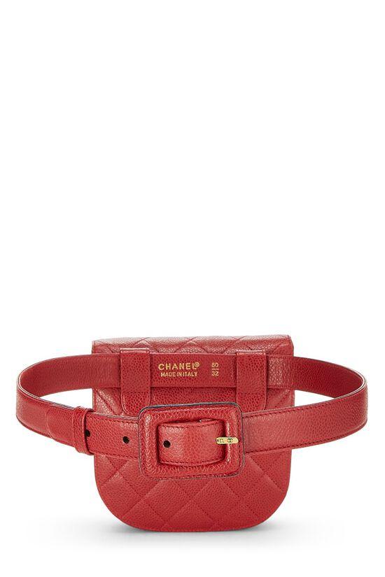 Red Quilted Caviar Belt Bag 32, , large image number 3