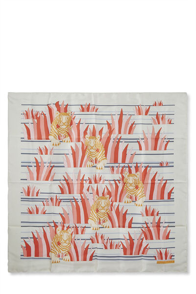 Cream & Multicolor 'Tigres Dans les Herbes' Silk Scarf 90
