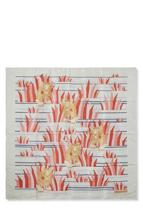 Cream & Multicolor 'Tigres Dans les Herbes' Silk Scarf 90, , large image number 0