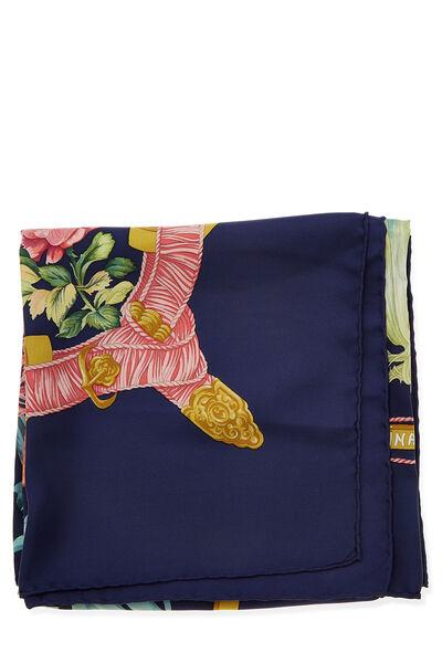 Navy & Multicolor 'Regina' Silk Scarf 90, , large