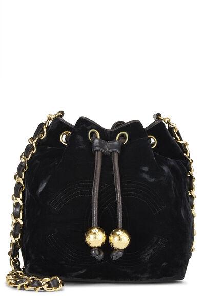 Black Velvet Bucket Bag Small