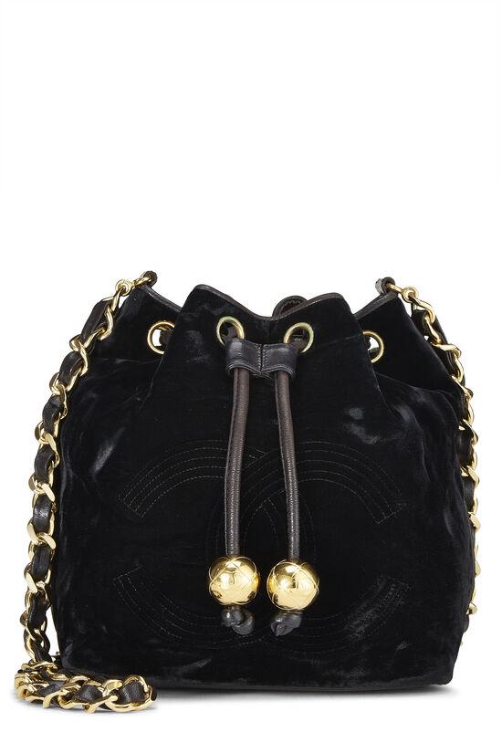 Black Velvet Bucket Bag Small, , large image number 0