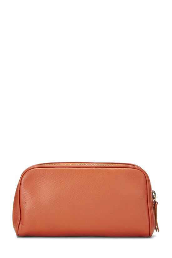 Orange Leather Cosmetic Pouch, , large image number 2