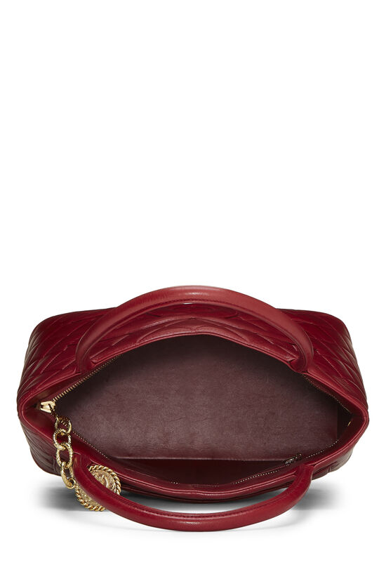 Red Quilted Lambskin Medallion Tote, , large image number 5