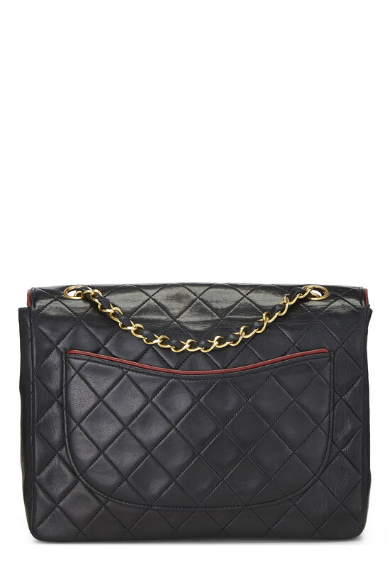 Black Quilted Lambskin Piped Half Flap Small, , large image number 3
