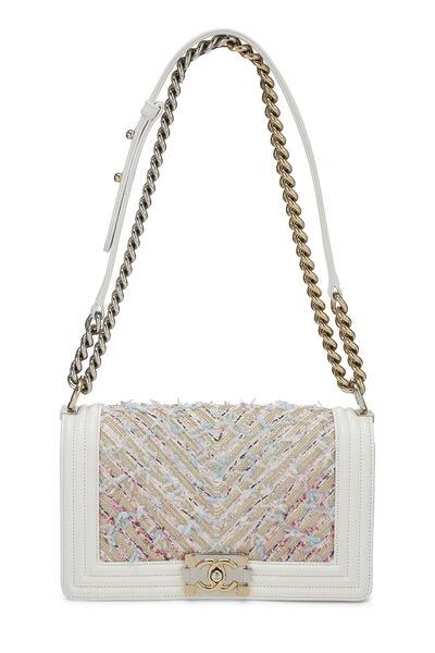 White & Multicolor Tweed Chevron Chain Boy Bag Medium, , large