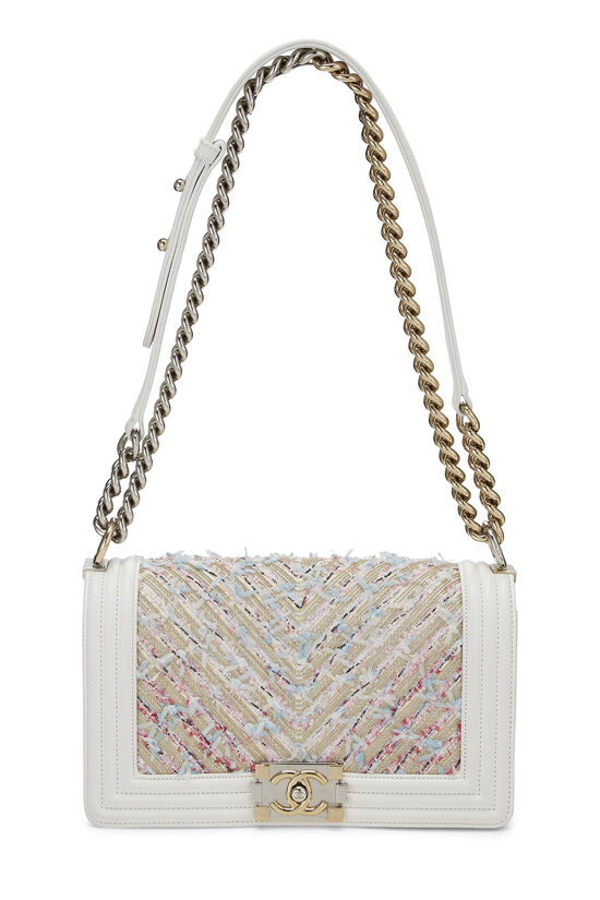 White & Multicolor Tweed Chevron Chain Boy Bag Medium, , large image number 1