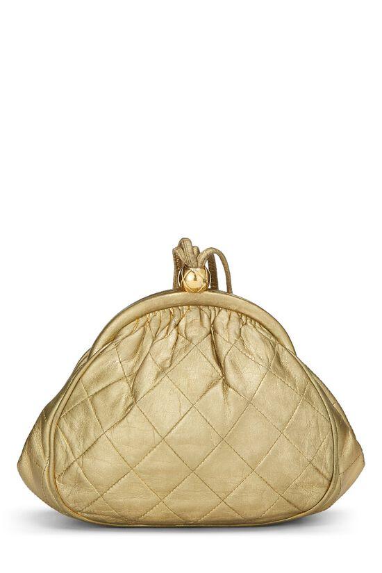 Metallic Gold Quilted Lambskin Shoulder Bag Mini, , large image number 3